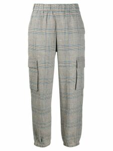 Semicouture checked tapered-leg trousers - Blue