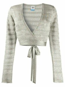 M Missoni metallic-knit wrap cardigan - SILVER
