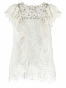 Essentiel Antwerp Vala Playa embellished lace blouse - White
