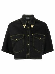 Versace Jeans Couture cropped denim shirt - Black