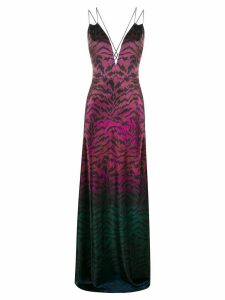 Saloni tiger print ombre gown - PINK