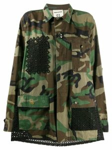 Semicouture lase cut panels camouflage jacket - Green