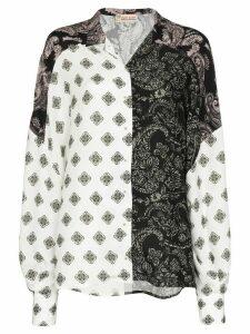 Esteban Cortazar panelled paisley-print shirt - Black