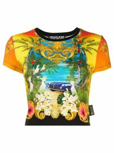 Versace Jeans Couture graphic print cropped T-shirt - Yellow