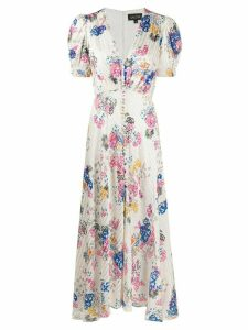 Saloni floral print flared dress - White