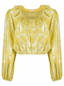 Rixo metallic Aztec blouse - GOLD