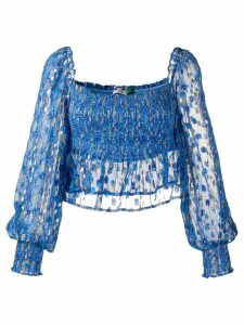 Rixo elasticated wave print blouse - Blue