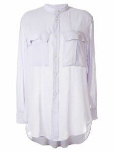 Y's band collar blouse - PURPLE