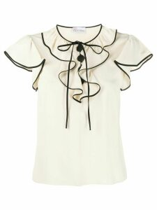 RedValentino contrast piping detailed blouse - NEUTRALS