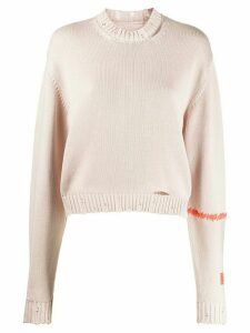 Heron Preston distressed knitted jumper - NEUTRALS
