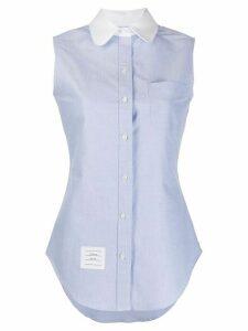 Thom Browne round collar sleeveless shirt - Blue
