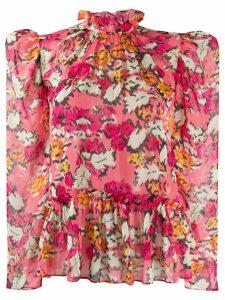 Saloni floral-print blouse - PINK
