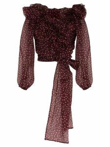 Dolce & Gabbana ruffled polka-dot silk-chiffon blouse - PINK
