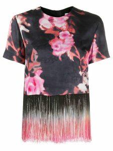 MSGM fringe trim floral blouse - Black