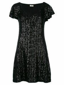 Saint Laurent sequin flutter sleeve dress - Black