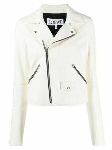 Loewe zip detail leather jacket - White