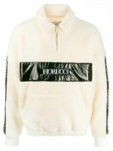 Fiorucci shearling half-zip sweatshirt - NEUTRALS