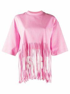 MSGM fringed oversized T-shirt - PINK