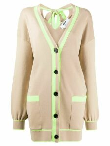 MSGM oversized neon trim cardigan - NEUTRALS