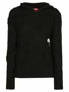 Staud crocheted hoodie - Black