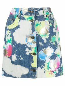 Moschino spray paint denim mini skirt - Blue