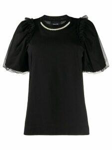 Simone Rocha tulle sleeve faux-pearl T-shirt - Black