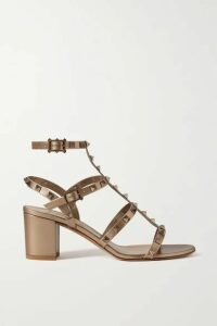 Valentino - Valentino Garavani Rockstud 60 Leather Sandals - Gold
