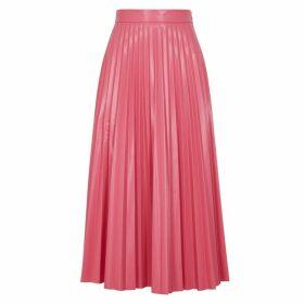MM6 By Maison Margiela Pink Pleated Vinyl Midi Skirt