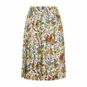 Tory Burch Printed Pleated Silk-twill Skirt