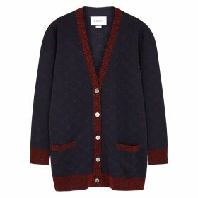 Gucci GG-intarsia Metallic-knit Wool-blend Cardigan