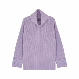 Alice + Olivia Mel Lilac Roll-neck Wool-blend Jumper