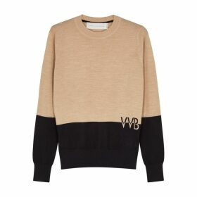 Victoria, Victoria Beckham Camel And Black Wool Jumper