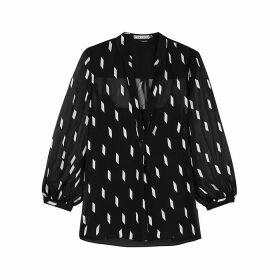 Alice + Olivia Sheila Dash-jacquard Chiffon Shirt