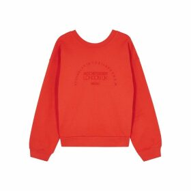 Victoria, Victoria Beckham Red Logo-embroidered Cotton Sweatshirt