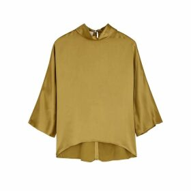 Mark Kenly Domino Tan Brunhilde Gold Satin Top