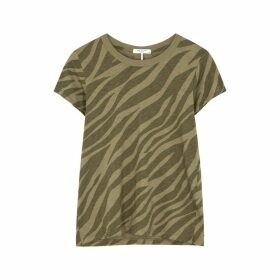 Rag & Bone Army Green Zebra-print Cotton T-shirt