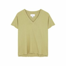 Current/Elliott Olive Distressed Cotton T-shirt