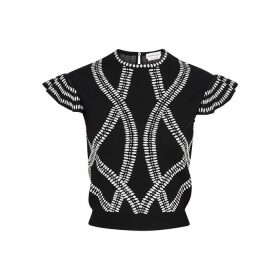 Alexander McQueen Monochrome Intarsia Stretch-knit Top