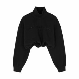 Alexander Wang Black Embroidered-logo Cotton Sweatshirt