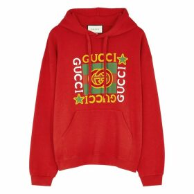 Gucci Red Logo-print Hooded Cotton Sweatshirt