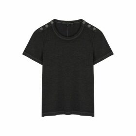 Veronica Beard Carla Charcoal Slubbed Jersey T-shirt
