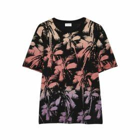 Saint Laurent Black Printed Cotton T-shirt