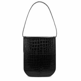 TL-180 Evelina Black Crocodile-effect Shoulder Bag