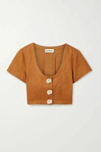 NICHOLAS - Lou Pleated Linen Cropped Top - Saffron