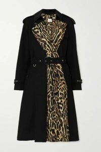 Burberry - Leopard-print Cotton-gabardine Trench Coat - Black