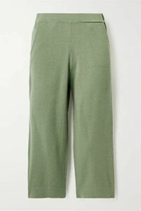 Allude - Cropped Cashmere Track Pants - Green