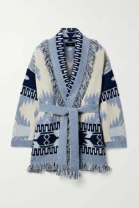 Alanui - Belted Fringed Cashmere Jacquard-knit Cardigan - Navy