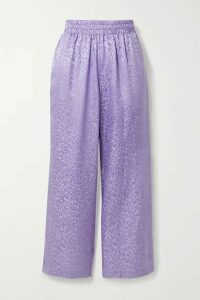 Les Rêveries - Silk-satin Jacquard Straight-leg Pants - Lavender