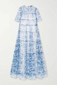 STAUD - Hyacinth Tiered Printed Crinkled-organza Maxi Dress - Blue