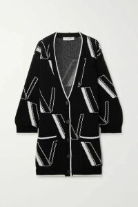 Valentino - Oversized Intarsia Wool And Cashmere-blend Cardigan - Black